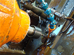 Closeup of Swiss machining equipment